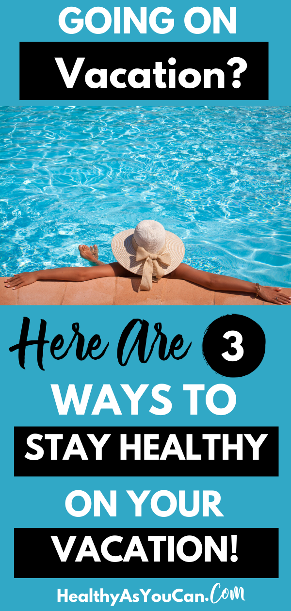 woman in a blue pool staying healthy on vacation