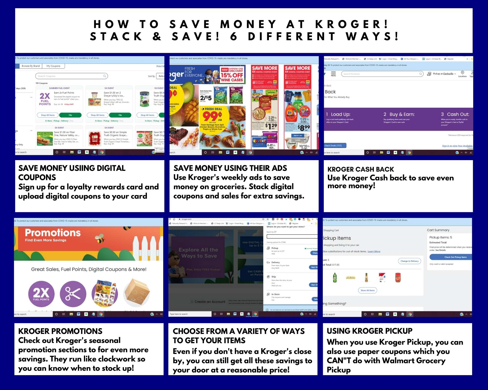 how to use kroger to save money on groceries storyboard