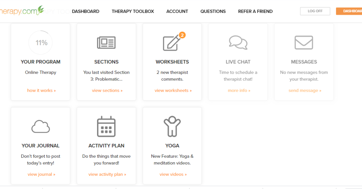 Online therapy dashboard